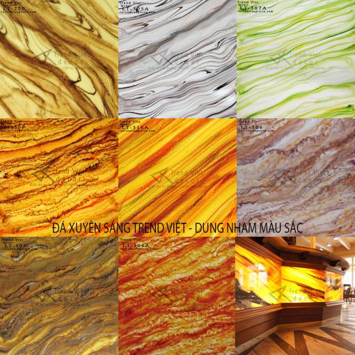 Bảng mẫu đá xuyên sáng dung nham màu sắc LT web