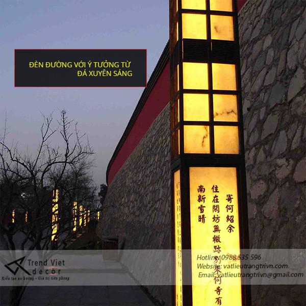 Đá xuyên sáng đặt theo thiết kế - Đèn ngoài trời làm bằng đá xuyên sáng
