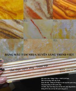Bảng mẫu Tấm nhựa xuyên sáng Trend Việt