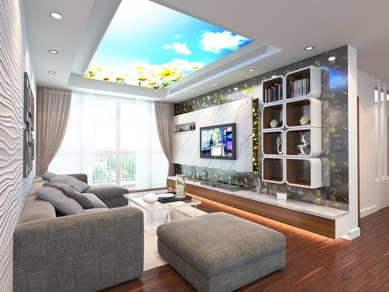 trần nhà xuyên sáng phòng khách
